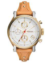 Fossil - Brown Women's Original Boyfriend Tan Leather Strap Watch 38mm Es3615 - Lyst