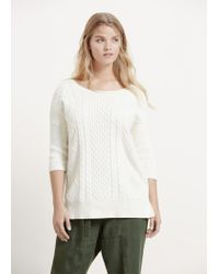 Violeta by Mango | White Cable-knit Cotton Sweater | Lyst
