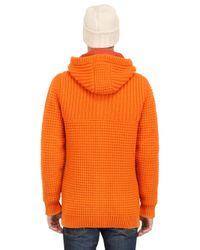Bark Orange Wool Blend Duffle Coat for men