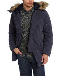 Denim & Supply Ralph Lauren Blue Fur Hooded Down Jacket for men