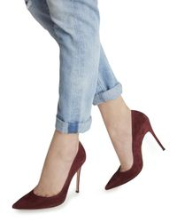 Gianvito Rossi Red Burgundy Suede Pumps