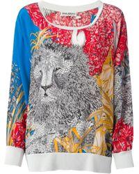 Ferragamo Multicolor Floral And Lion Printed Top