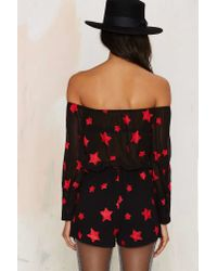 Nasty Gal | Black Oh My Love See My Stars Embroidered Romper | Lyst