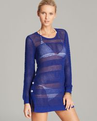 Tommy Bahama Blue Beach Sweater with Side Buttons Swim Cover Up