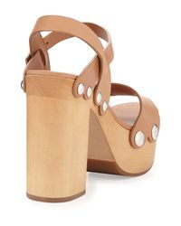 Prada - Natural Leather Ankle-wrap Sandal Clog - Lyst