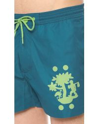 Marc By Marc Jacobs Blue Tree Print Swim Trunks for men