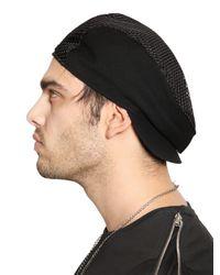 John Richmond Black Techno Jersey & Mesh Hat for men