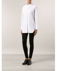 The Row | White Madison Collarless Shirt | Lyst