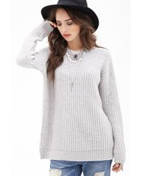 Forever 21 - Gray Waffle Knit Fisherman Sweater - Lyst