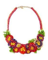 RED Valentino | Red Straw Flower Bib Necklace One Sz | Lyst