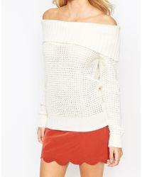 Fashion Union   Yellow Off Shoulder Waffle Knit Jumper   Lyst