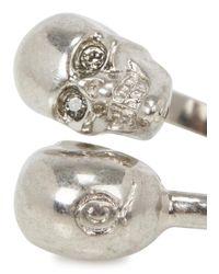 Alexander McQueen - Metallic Silver Tone Twin Skull Ring - Lyst