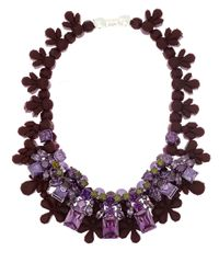 EK Thongprasert Purple Burgundy and Lilac Silicone and Cubic Zirconia Necklace