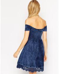 ASOS Blue Skater Dress With Off Shoulder Detail And Crochet Hem