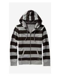 Express Black Striped Fleece Zip Hoodie for men