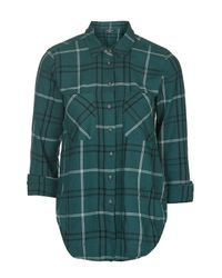 TOPSHOP - Blue Petite Teal Check Shirt - Lyst