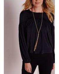 Missguided - Metallic Longline Tassel Necklace - Lyst