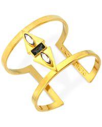 Vince Camuto | Metallic Gold Multi-Stone T-Bar Cuff Bracelet | Lyst