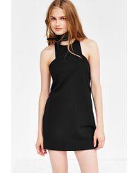 Silence + Noise Black Marci Carved-neck Ponte Mini Dress