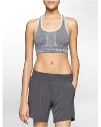 Calvin Klein Gray White Label Performance Reversible Heathered Sports Bra