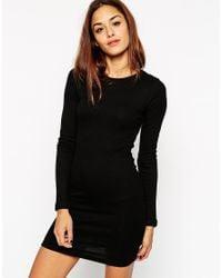 ASOS - Black Mini Bodycon Dress With Long Sleeves In Rib - Lyst