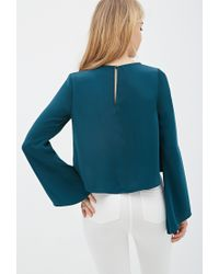 Forever 21 - Green Pleated Bell-sleeve Top - Lyst