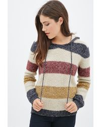Forever 21 | Multicolor Textured Knit Striped Hoodie | Lyst