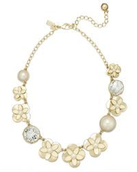 kate spade new york | Metallic New York Gold-Tone Graduated Faux Pearl, Crystal And Flower Frontal Necklace | Lyst
