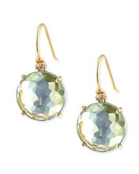 KALAN by Suzanne Kalan | 14k Yellow Gold Wire Drop Earrings In Green Topaz | Lyst