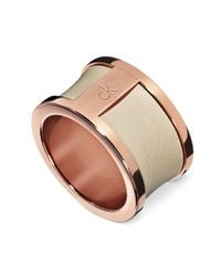 Calvin Klein - Pink Rosegold Pvd Stainless Steel Nude Leather Ring - Lyst