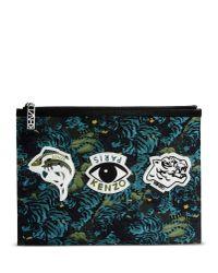KENZO Blue Medium Fabric Bag for men