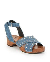 Saint Laurent Blue Studded Denim Clog Sandals