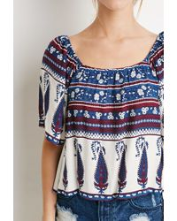 Forever 21 | Blue Floral Paisley-striped Top | Lyst