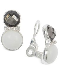 Jones New York | Metallic Silver-tone White Stone And Epoxy Crystal Clip-on Earrings | Lyst