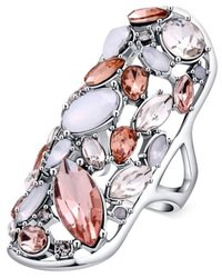 Guess - Metallic Silver-tone Light Crystal Drama Ring - Lyst