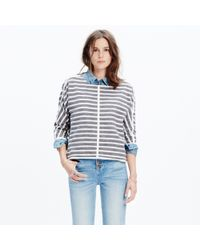 Madewell | Gray Striped Back-zip Pullover | Lyst