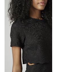 TOPSHOP Black Scallop Lace Overlay Dress