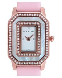 Ted Baker - Pink Double Crystal Leather Strap Watch - Lyst