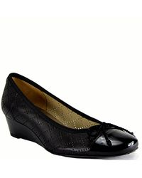 French Sole - Filigree - Black Perforated Ballet Wedge - Lyst