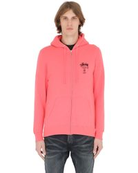 Stussy | Pink Hooded Zip-up Cotton Blend Sweatshirt for Men | Lyst