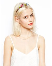 ASOS - Multicolor Leather Flower Headband - Lyst