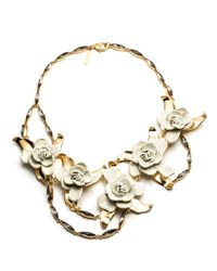 Aerin | Metallic Gardenia Flower Bib Necklace | Lyst