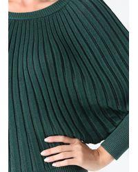 Bebe Green Metallic Starburst Sweater