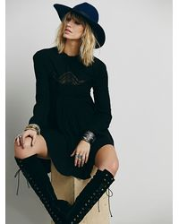 Free People - Black Womens Mock Neck Lace Pieced Tun - Lyst