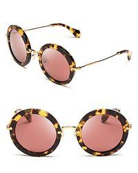 Miu Miu - Brown Noir Round Sunglasses - Lyst