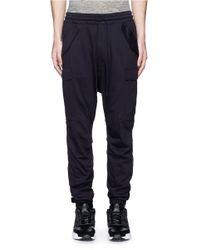 NLST Black Cotton Jersey Cargo Pants for men