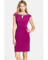 Alex Evenings - Purple Embellished Neck Jersey Sheath Dress - Lyst