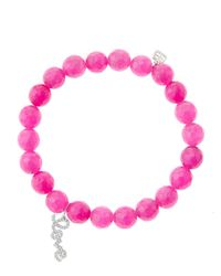 Sydney Evan | Purple 8Mm Faceted Fuchsia Agate Beaded Bracelet With 14K White Gold/Diamond Love Charm (Made To Order) | Lyst