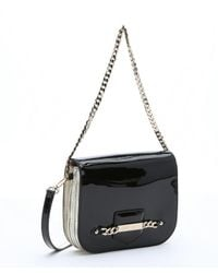 Jimmy Choo - Black And Gold Patent Leather 'shadow' Crossbody - Lyst