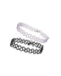 TOPSHOP - Purple and Black Tattoo Anklets - Lyst